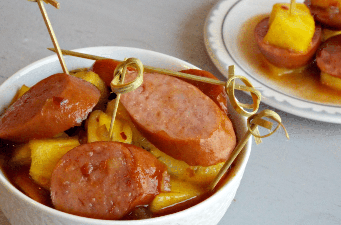 Sweet and Spicy Kielbasa with Pineapple