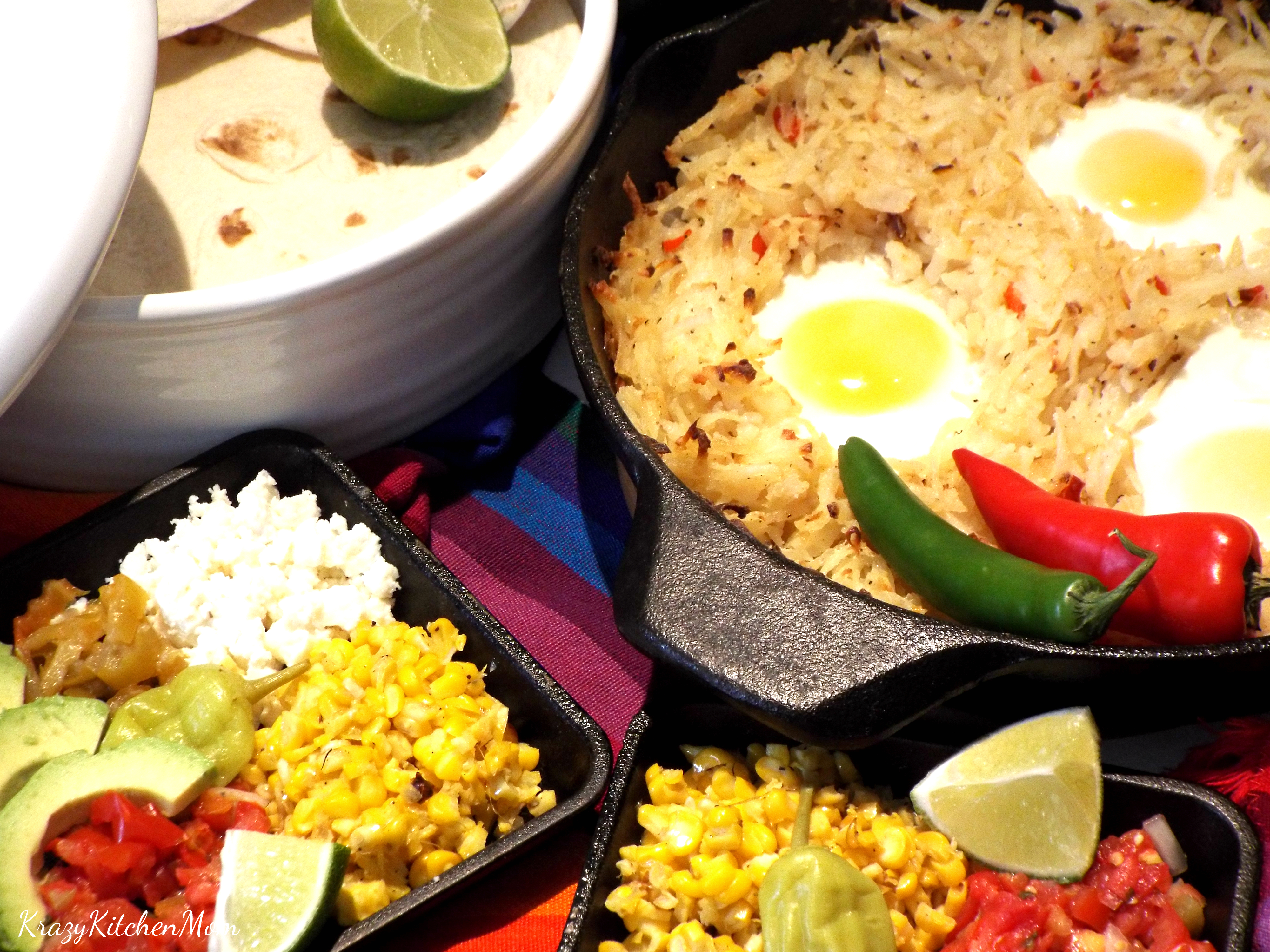 fiesta brunch, eggs and hash browns, Cinco de Mayo, tex-mex, brunch