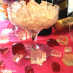 champagne glass filled with gummy candies