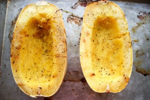 Spaghetti squash cut in half right out of oven