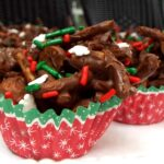 chocolate candy with sprinkles in a Christmas cupcake paper