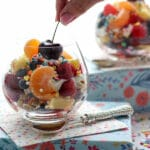 Breakfast Fruit Salad jar with a cherry on top