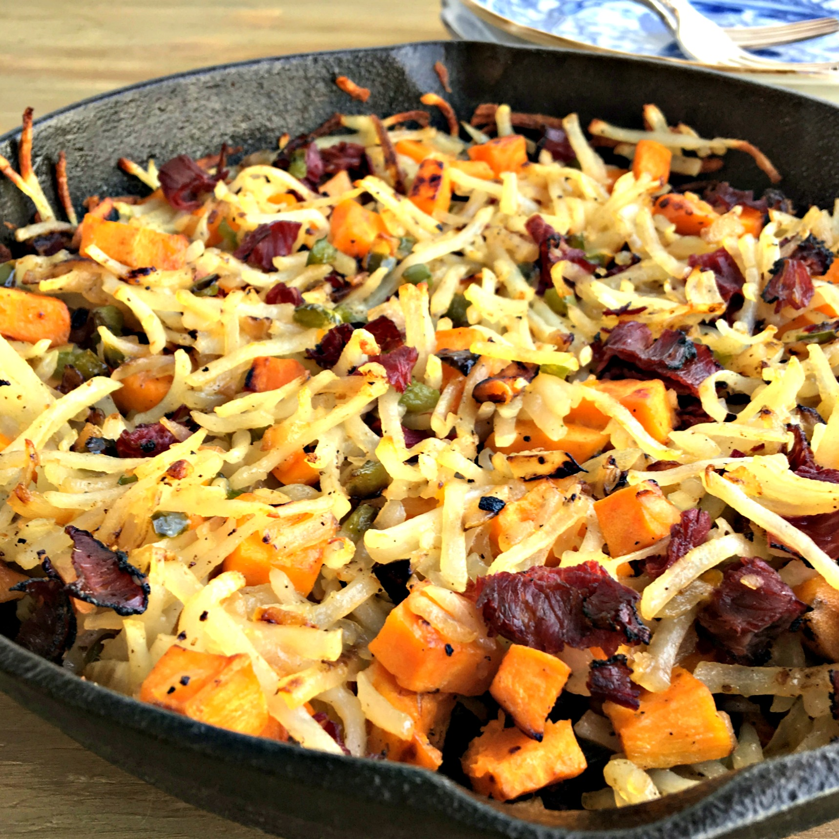 Sweet potato and pastrami hash, corned beef hash, hash browns