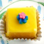 lemon glazed petit fours, no bake, lemon cake, lemon glaze
