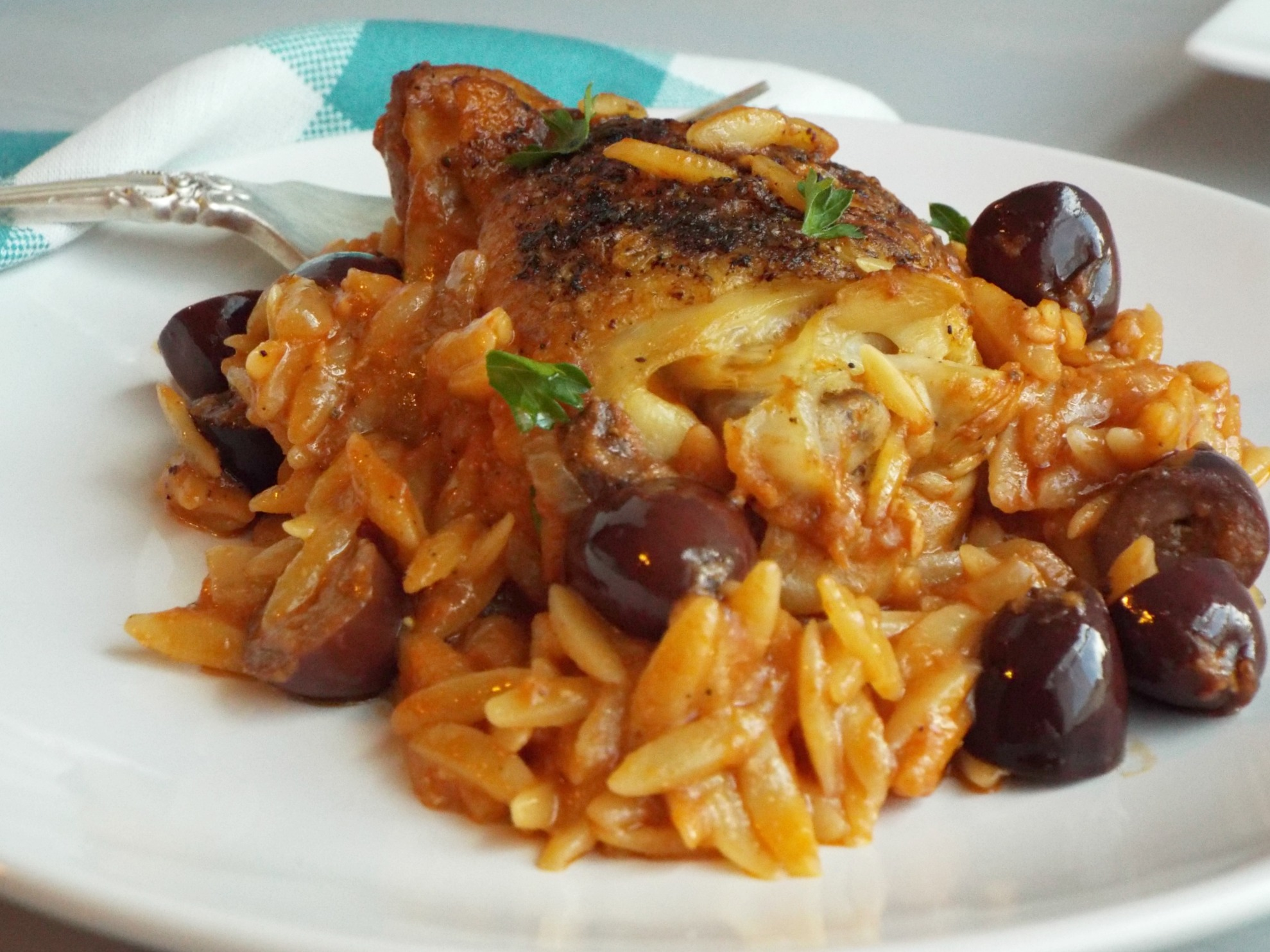 One Pan Greek Chicken with Olives and Orzo