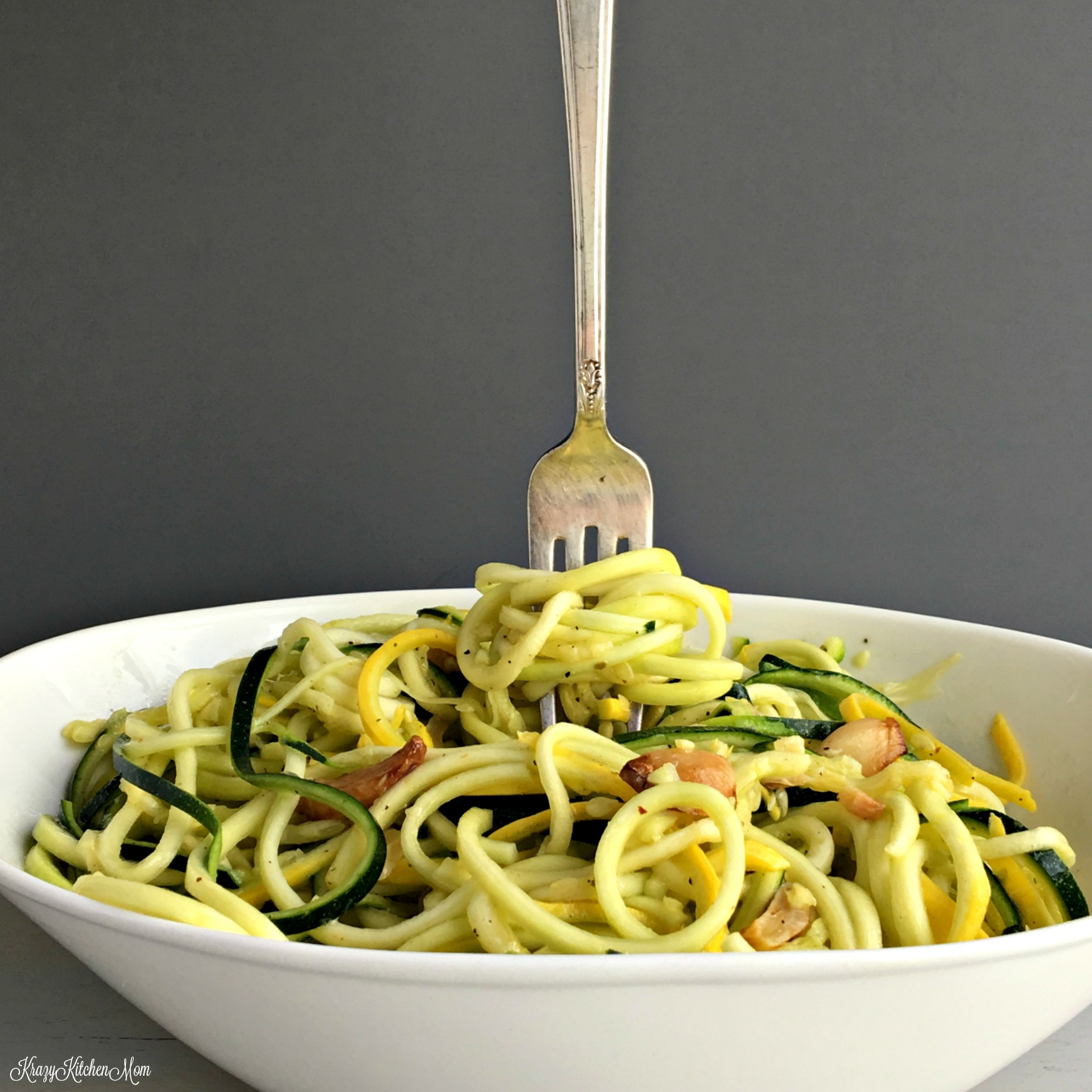 Zucchini and Yellow Squash Zoodle Salad - Krazy Kitchen Mom, Spiral veggies