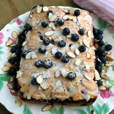 Blueberry Coffee Cake with Lemon Glaze