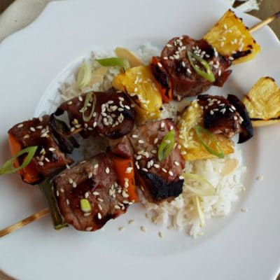 Korean Style Pork Kabobs with Korean BBQ Sauce