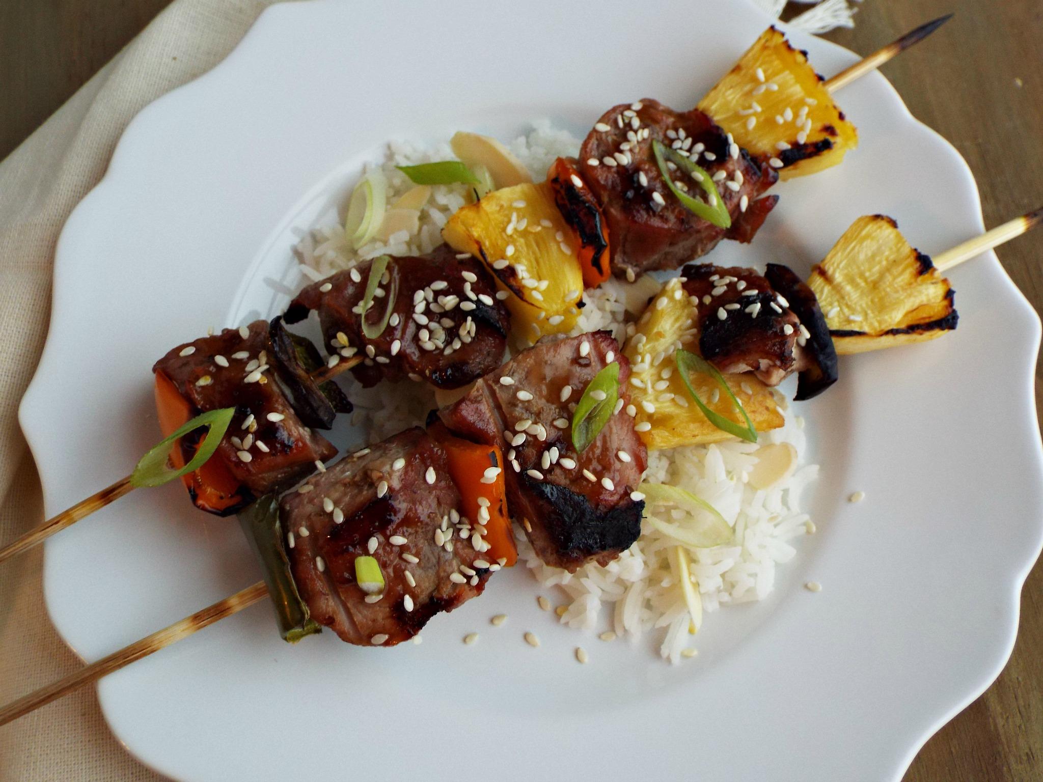 Korean Style Pork Kabobs with Korean BBQ Sauce