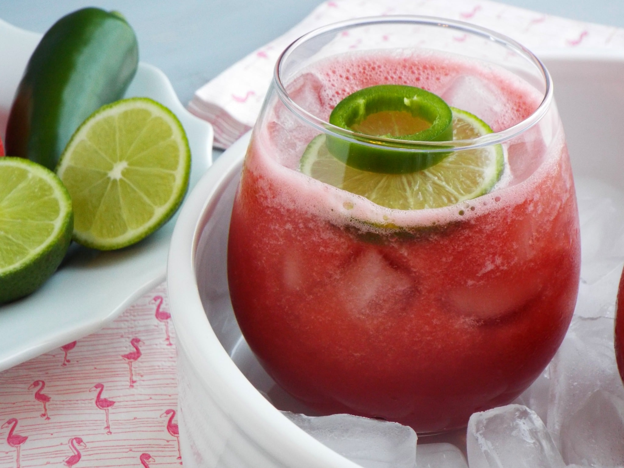 Skinny Watermelon and Jalapeno Cocktail