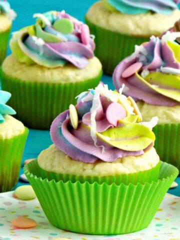 Coconut Cream Unicorn Cupcakes
