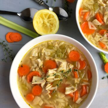 A bowl filled with chicken orzo soup