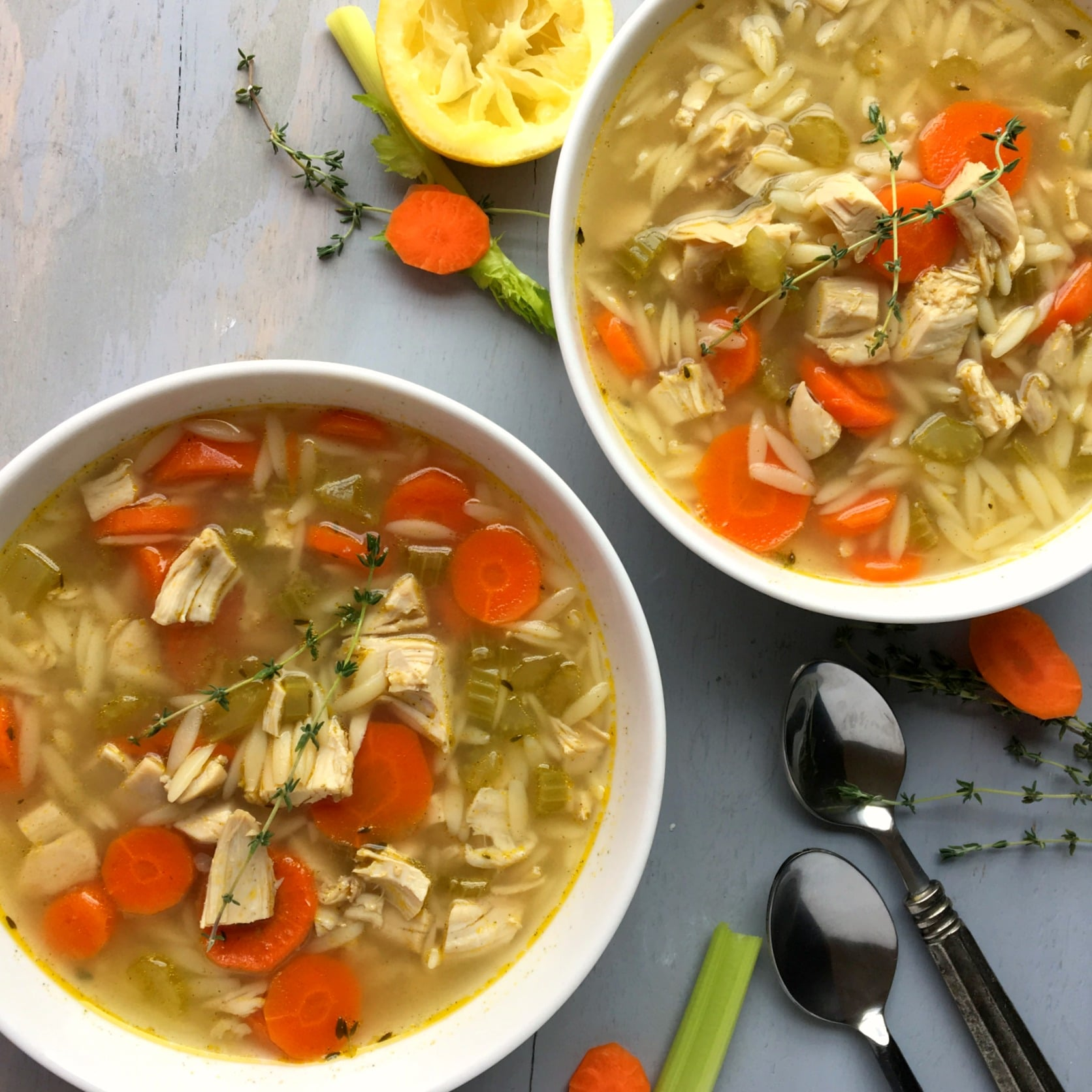 Light Greek Lemon Chicken Orzo Soup