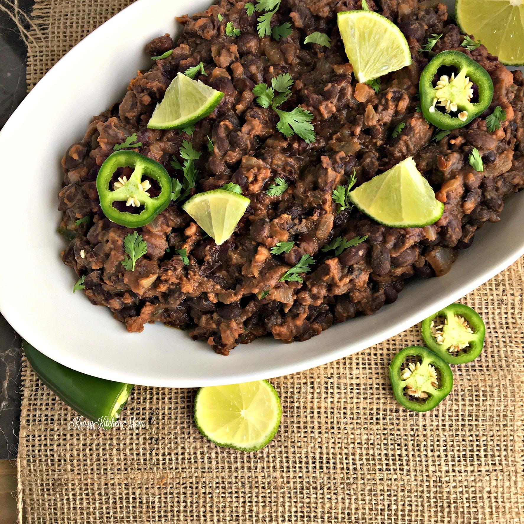 restaurant style black beans with chorizo