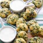 cornbread spinach bites on a rack