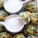 cornbread spinach bites with dip