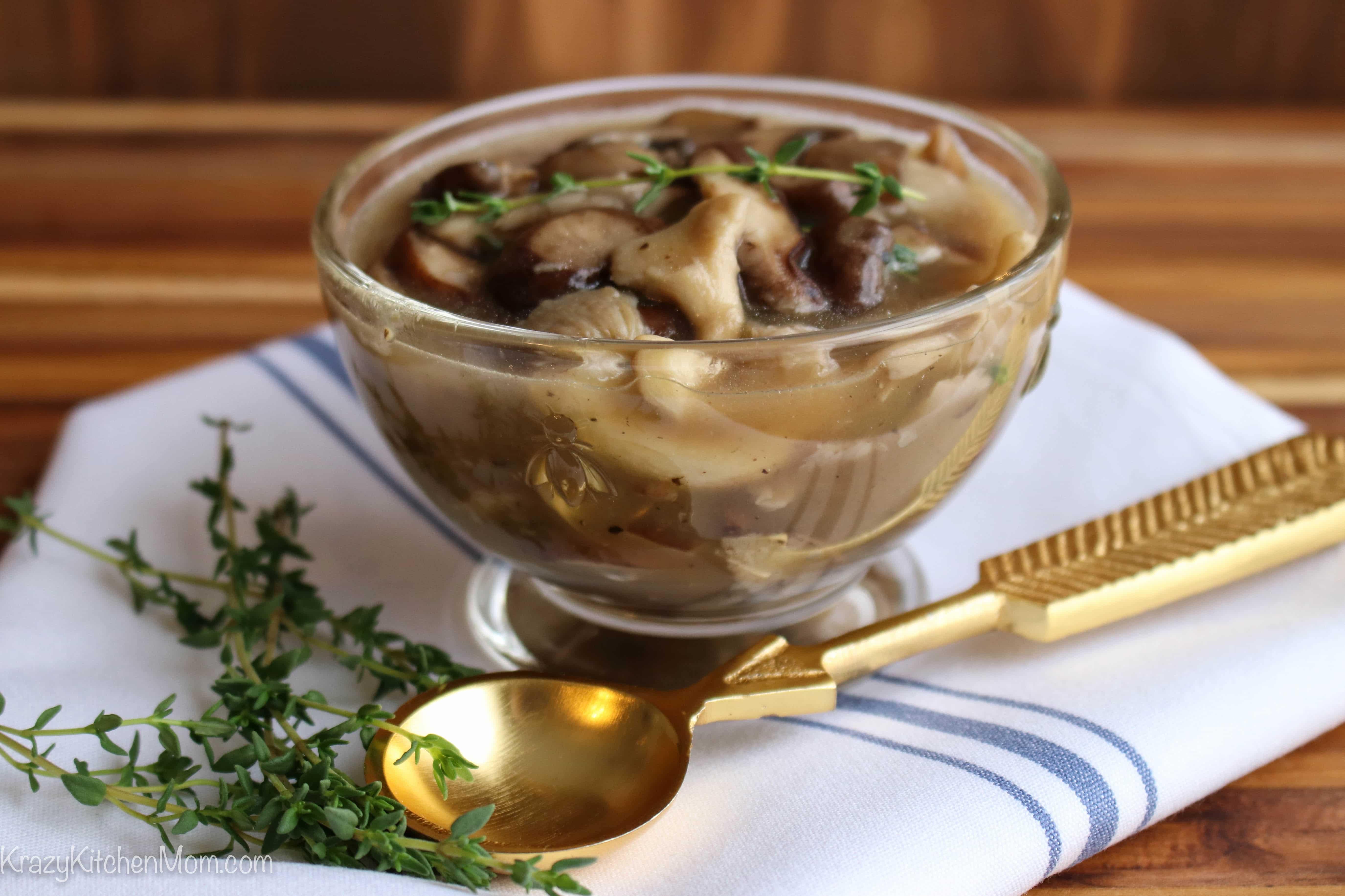 Ten Minute Herb Mushroom Sauce with spoon