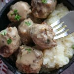 Swedish Meatballs on a fork