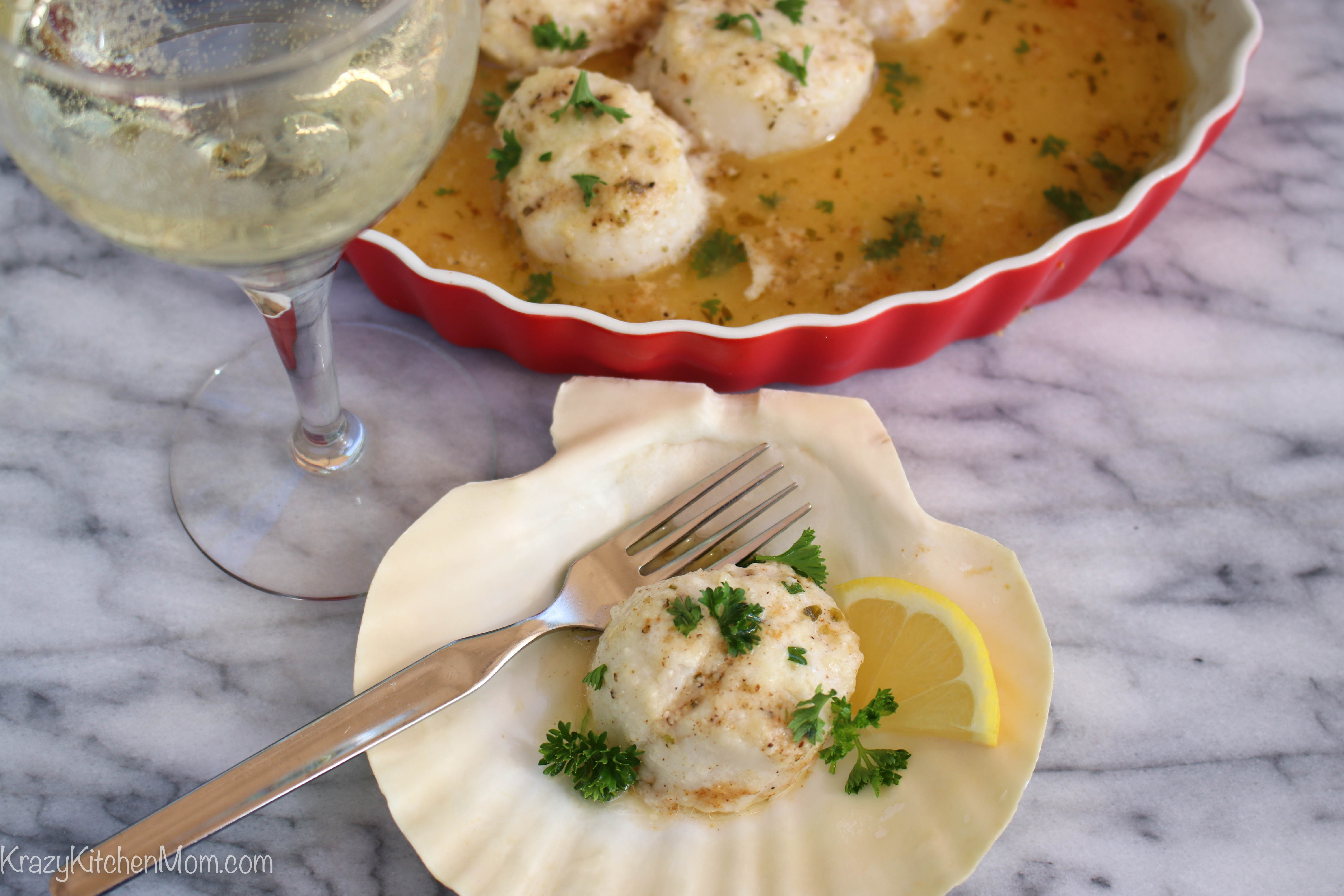ine and Butter Baked Scallops