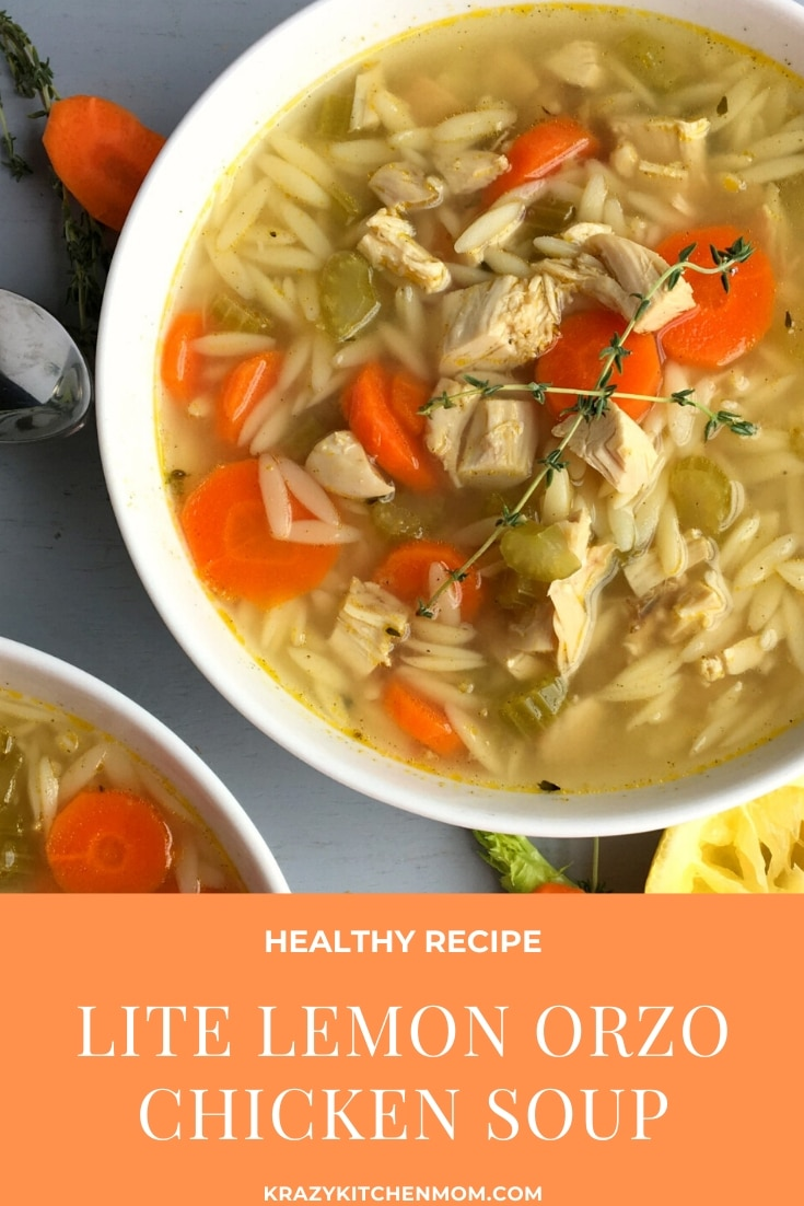 Light Greek Lemon Chicken Orzo Soup is an easy one-pot weeknight dinner using rotisserie chicken, chicken broth, fresh herbs and lemon with orzo. via @krazykitchenmom