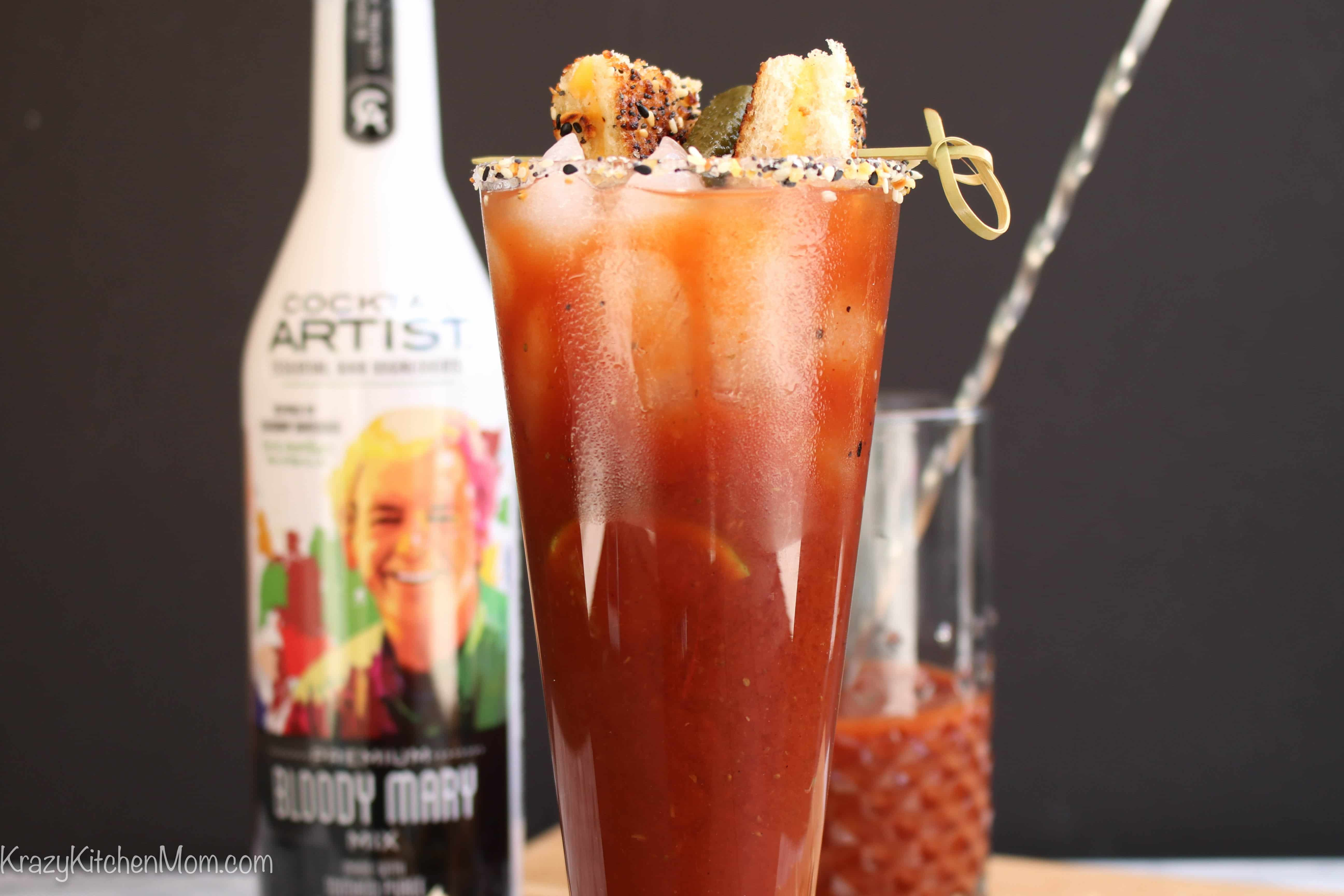 Everything Bloody Mary with Everything Grilled Cheese Bites