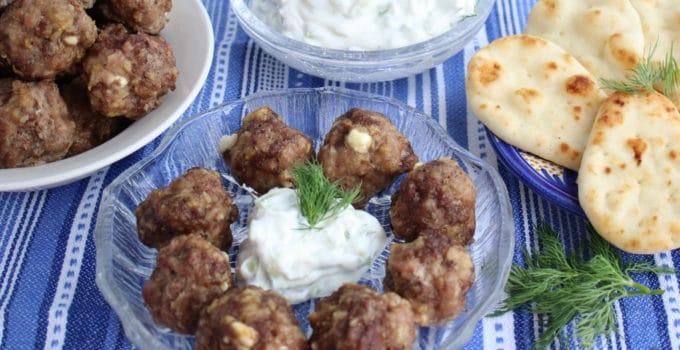 Feta Stuffed Greek Style Meatballs