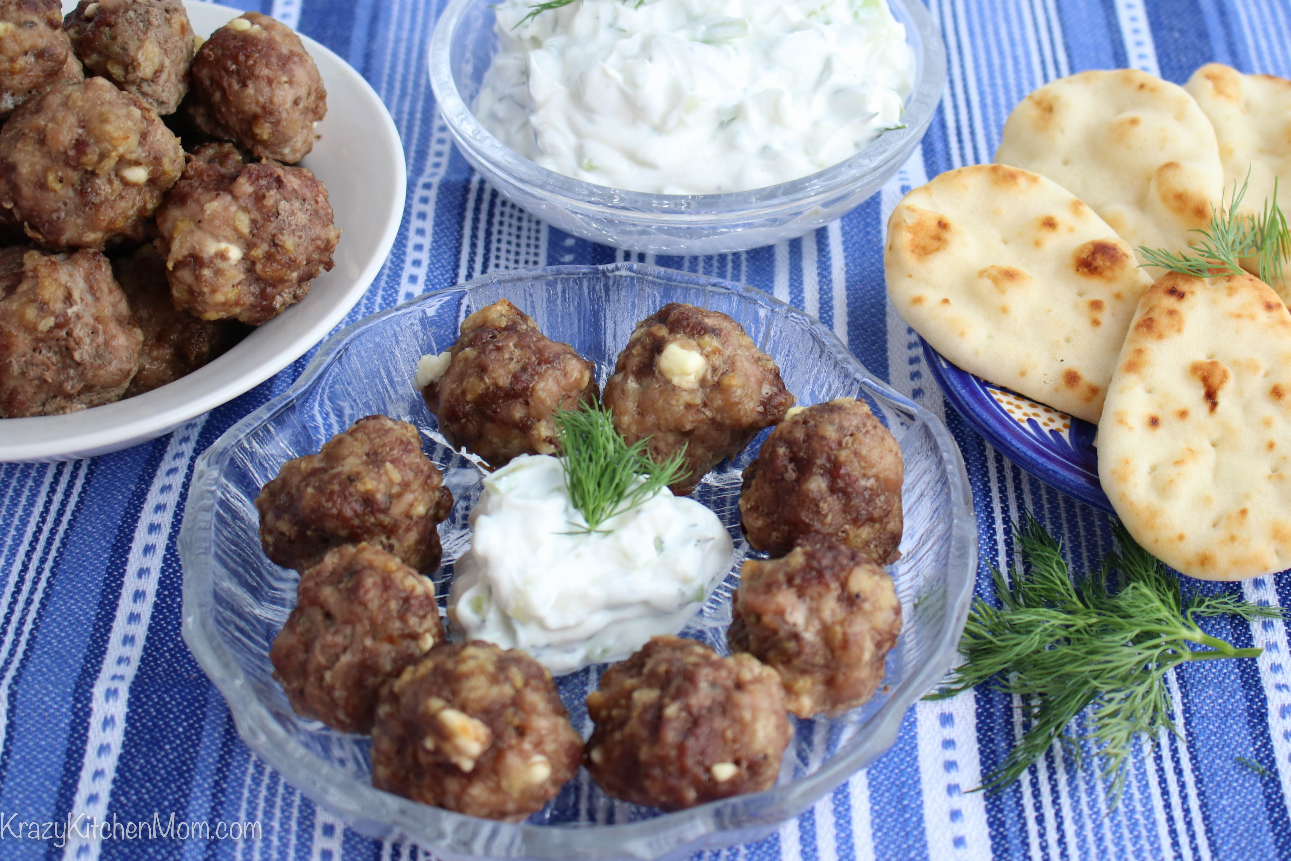 Feta Stuffed Greek Style Meatballs