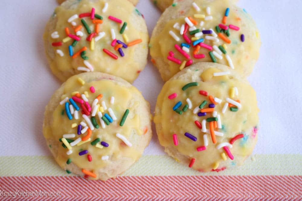 Lemon Glazed Funfetti Sugar Cookies