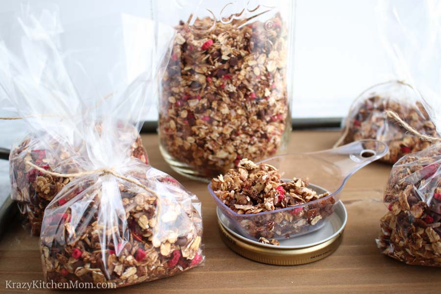 Packages of Chocolate Raspberry Granola