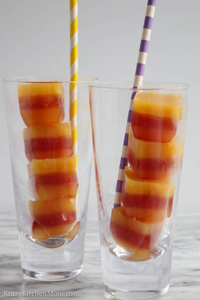 Fruit Juice Layered Ice Cubes