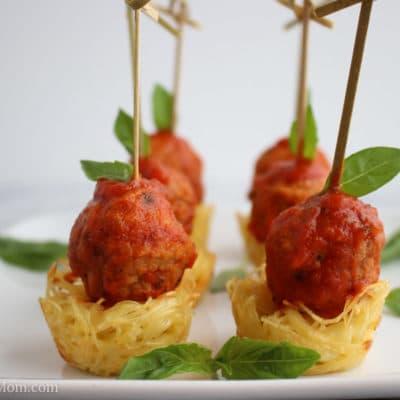 Mini Spaghetti and Meatball Appetizer