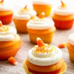 candy corn cupcakes on a table