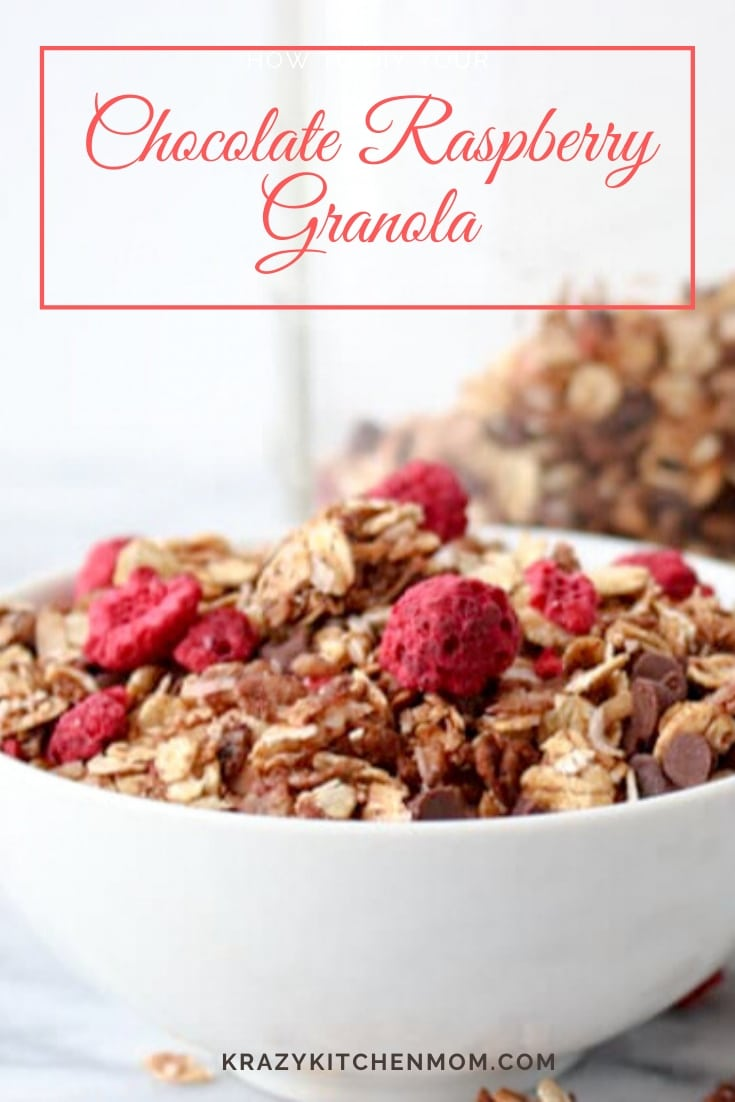 Chocolate Raspberry Granola delivers on everything delicious. A deep dark chocolate flavor that is not too sweet with the brightness of freeze-dried raspberries. via @krazykitchenmom