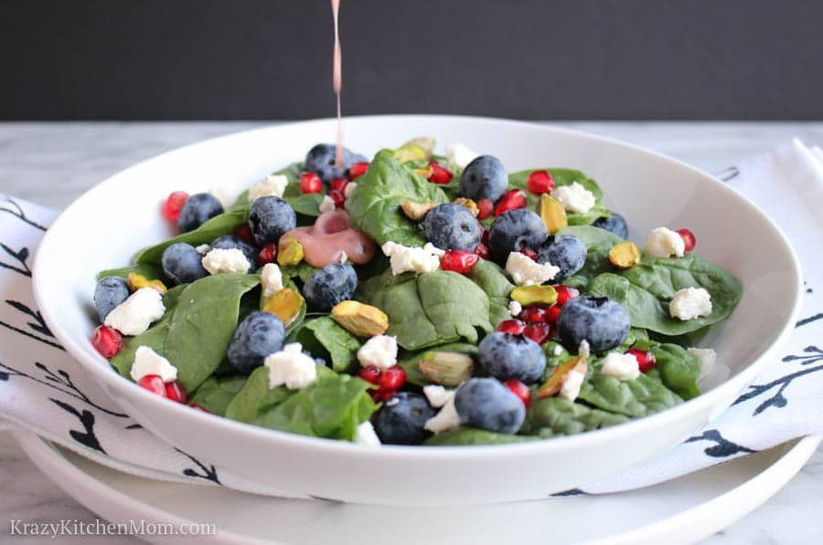Spinach Salad with Pomegranate Poppy Seed Dressing
