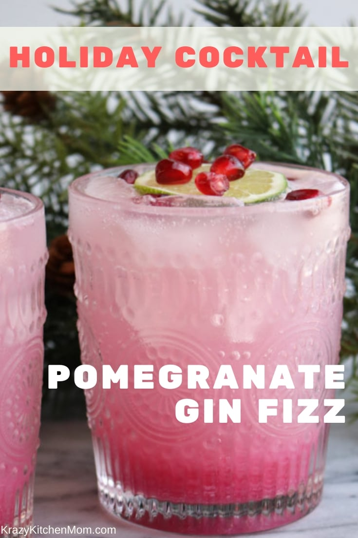 You're gonna love our take on a classic gin fizz cocktail...the Pomegranate Gin Fizz Cocktail dressed for the holiday season. Lite and refreshing - cheers! via @krazykitchenmom