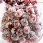 Jar of sugared cranberries