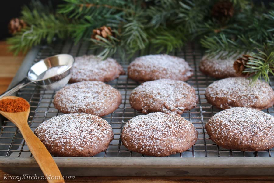Mexican Hot Chocolate Cookies on a cooling rack