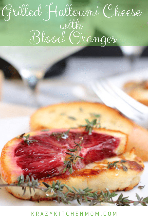 Grilled Halloumi Cheese with Blood Oranges is one of our favorite appetizers. Greek Halloumi cheese, grilled and topped with blood oranges and fresh thyme. via @krazykitchenmom
