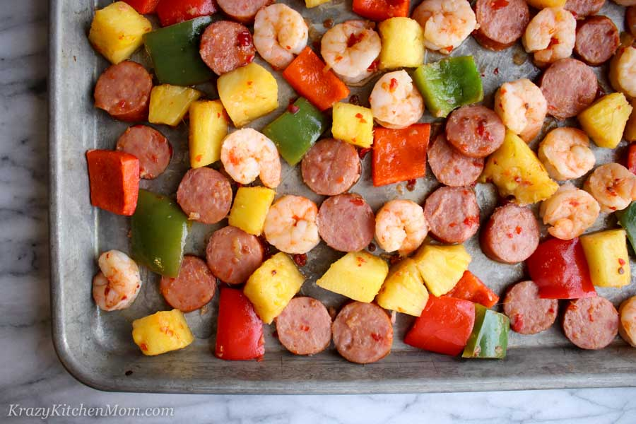 Sheet Pan Hawaiian Shrimp and Sausage