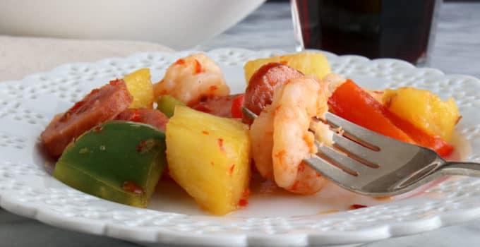 Sheet Pan Hawaiian Shrimp and Sausage