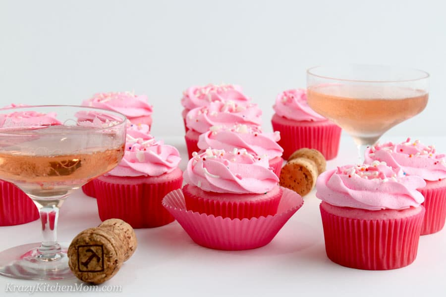 Pink Champagne Cupcakes with Pink Champagne Buttercream