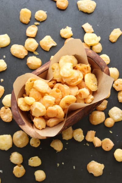 bowl of cheese puffs