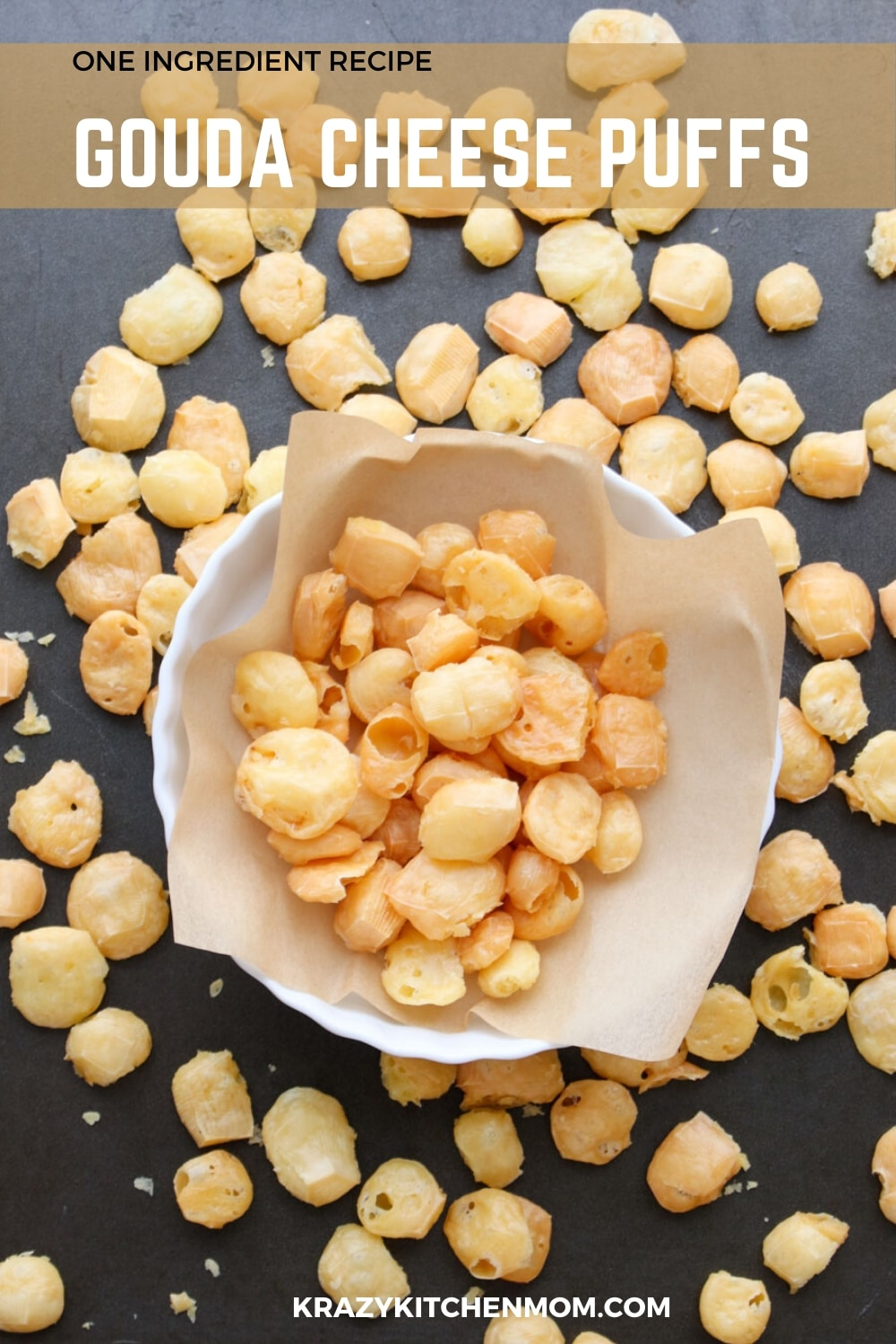 One Ingredient Gouda Cheese Puffs are the easiest snack you'll ever make. They are the perfect snack for low carb and keto-friendly diets.  via @krazykitchenmom