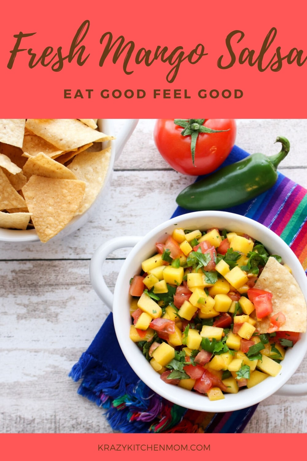 Fresh Mango Salsa is bursting with bright sweet flavor from the perfectly ripened mango and bright red tomatoes with a hint of heat from a jalapeno.  via @krazykitchenmom