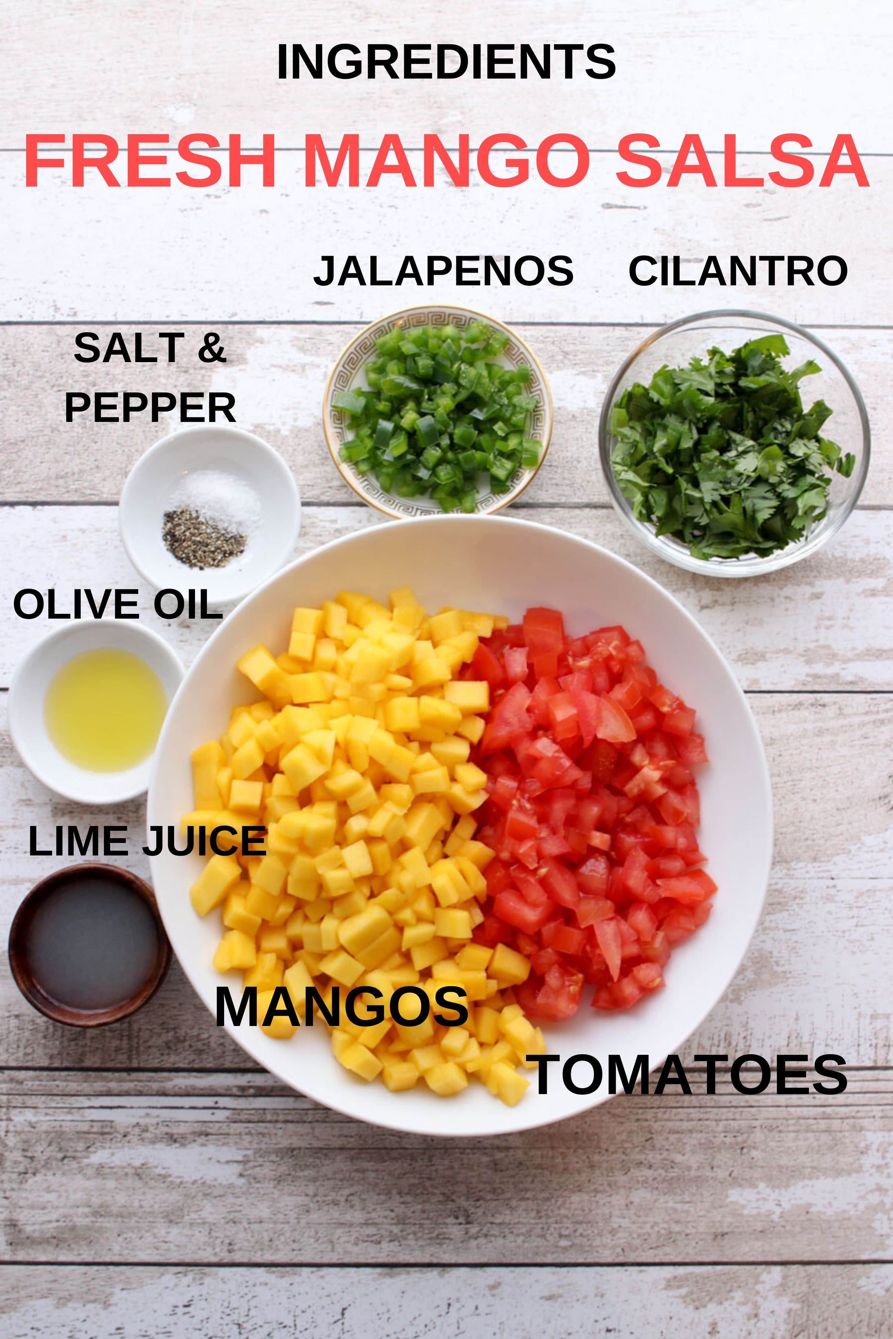 photo, with labels, showing all of the mango salsa  ingredients