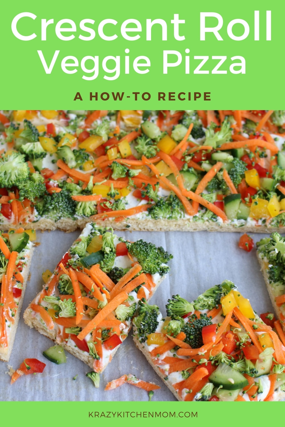 Crescent Roll Veggie Pizza a fresh way to eat veggies. It's made with refrigerator crescent roll dough, homemade dill dip and lots of fresh vegetables. I'd say it's a classic! via @krazykitchenmom