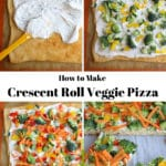 4 photos showing how to make crescent roll veggie pizza