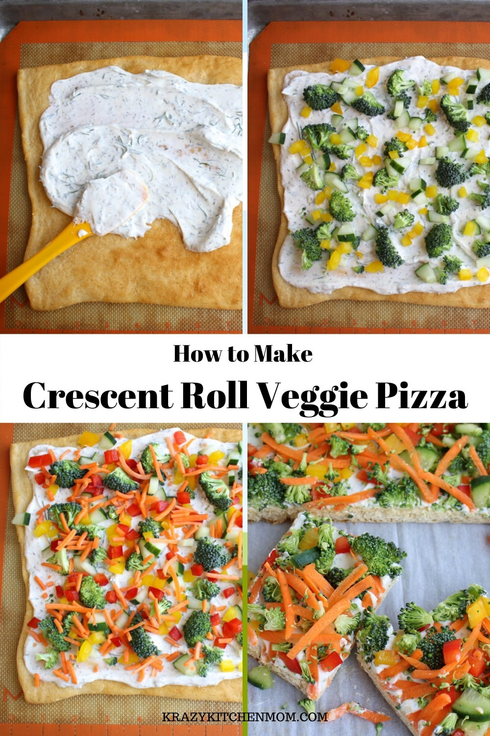 Crescent Roll Veggie Pizzaa fresh way to eat veggies. It's made withrefrigerator crescent roll dough, homemade dill dip and lots of fresh vegetables. I'd say it's a classic! via @krazykitchenmom