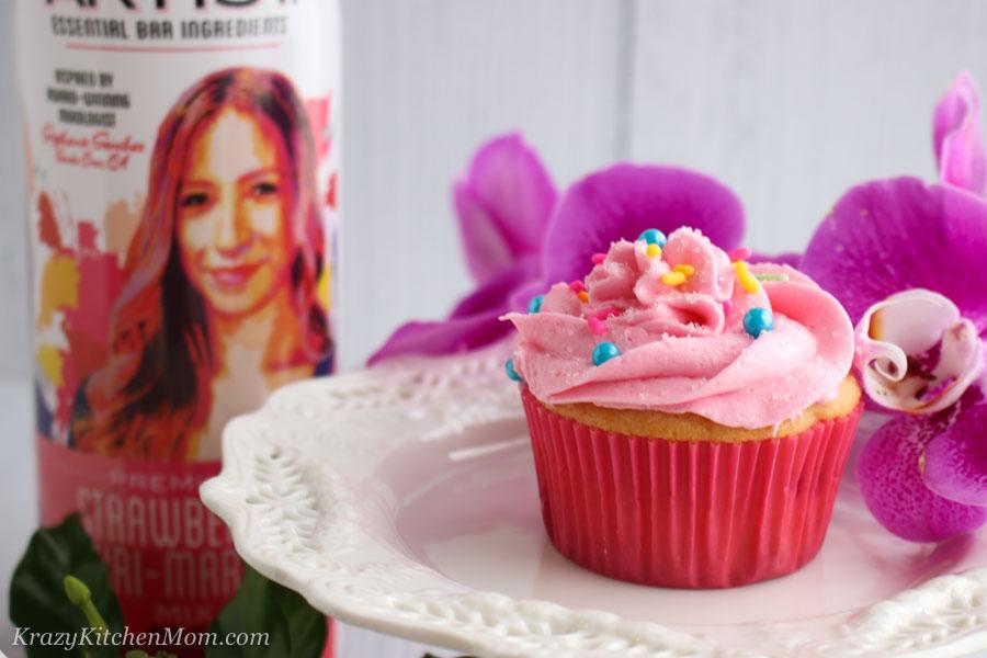 Strawberry Daiquiri Cupcakes with Strawberry Daiquiri Buttercream Frosting