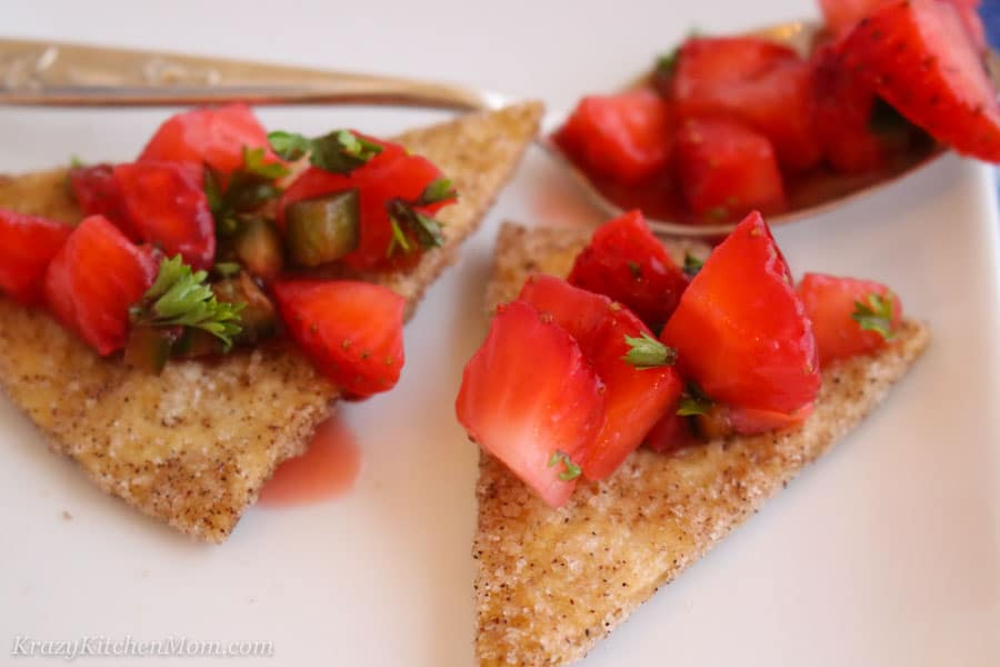 Strawberry Salsa on a chip